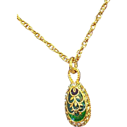 Vintage Edgar Berebi Emeraude Green Enameled Rhinestone Egg Pendant Necklace  Limited Edition
