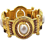 Impressive Bracelet Ornate Goldtone Metal with Imitation Pearl Cabs  Edgar Berebi Limited Edition