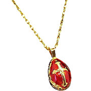 Vintage Ornate Red Enameled Egg  Goldtone Metal Pendant Necklace with Cross