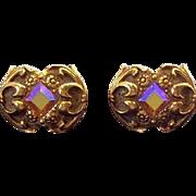 Vintage Swank Ornate Scrolls & Flower Designs Goldtone Metal Rhinestone Cuff Links