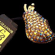 Vintage Suzanne Bjontegard England 3-D Aurora Rhinestones Pear Brooch MIB with Original Tag