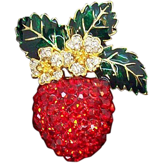 Vintage 3-Dimensional Large  Red Rhinestone Strawberry Brooch