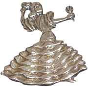 Vintage Spanish Senorita Flamenco Dancer  Maracas Sterling Silver  Brooch  Mexico Circa 1940's