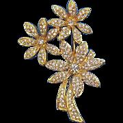 Vintage Napier Goldtone Metal Clear Rhinestones Floral Bouquet Brooch  Circa 1980's