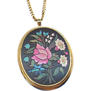 Vintage Avon Florentine Pink, Green, White Flowers Pendant Necklace  1974