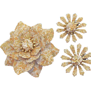 Vintage Coro Textured White & Golden Enameled 3-D Flower Brooch & Earrings Set