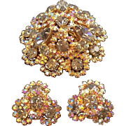 Vintage Warner Aurora Iridescent Layered 3-D Rhinestone Brooch & Clip on Earring Set