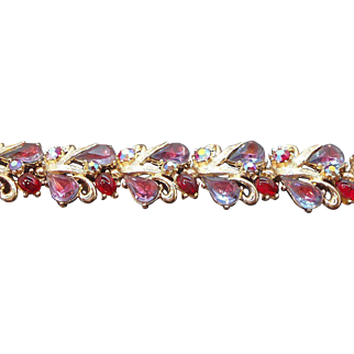 Vintage Aurora Borealis Red & Purple Rhinestone Bracelet Signed Art