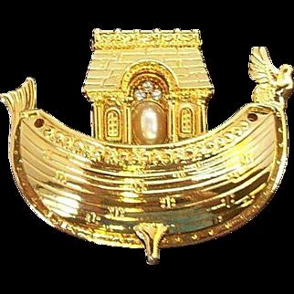 Vintage Edgar Berebi Noah's Ark Brooch Goldtone Metal Enamel Rhinestones