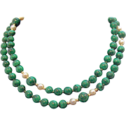 Vintage Genuine Malachite Cultured Pearls 14K Gold Beaded Necklace