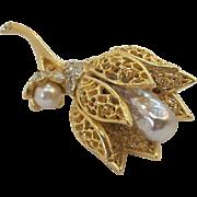 Vintage BSK Goldtone Metal Flower Brooch Imitation Pearls & Clear Rhinestones