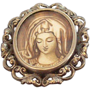 Vintage Madonna Portrait Encased Under Glass European 800 Silver Oval Shaped Brooch