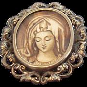 Vintage Madonna Portrait Encased Under Glass European 800 Silver Oval Shaped Brooch