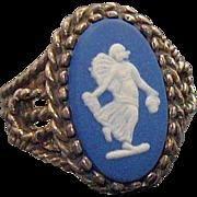Vintage Wedgwood Blue Jasper Sterling Silver Ring