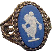 Vintage Wedgwood Blue Jasper Cameo Sterling Silver Ring