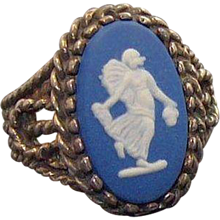 Vintage Wedgwood Blue Jasper Sterling Silver Ring