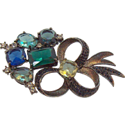Vintage Avon Floral Bouquet Brooch Large Blue Green Glass Stones