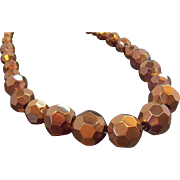 Vintage Chunky Coppertone Metallic  Faceted Glass Beaded Necklace