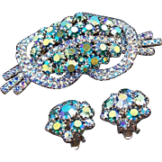 Vintage Aurora Borealis Blue Rhinestone Brooch and Matching Clip Earrings Set
