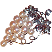 Vintage Cultured Pearls 3-D Grape Cluster Brooch Pendant  900 Silver Japan circa 1970s