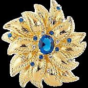 Vintage Camrose & Kross Large Dimensional Blue Crystal Stones  Flower Brooch  MIB