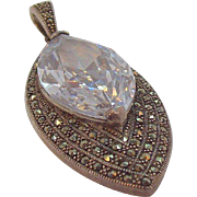 Vintage Sterling Silver Large Faceted Open Back Stone With Marcasites Pendant