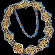 Vintage Goldtone Metal Delicate Filigree Geometric Floral Design Bracelet