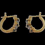 Vintage Goldplated Sterling Silver Pierced Hoop Earrings with Blue & Clear Stones