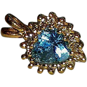 Vintage 14K Heart Shaped Genuine Diamonds & Blue Topaz Pendant