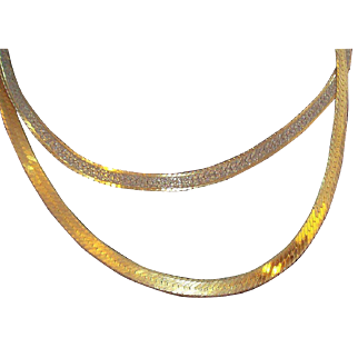 Vintage Textured Two Silded Goldtone Silvertone Sterling Silver Herringbone Necklace  Italy