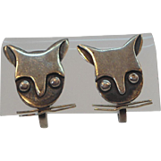 Vintage Sterling Silver Cat Head Screw On Earrings