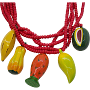Vintage Large 3-Dimensional Colorful Wooden Dangle Fruit Necklace