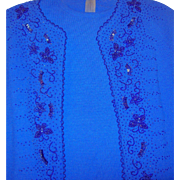 Vintage Beaded Blue Jacket Blouse Skirt Set  Made in Italy  Size 10