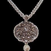 Vintage Large Avon Silvertone Medallion Pendant Necklace Dangle Imitation Pearl  MIB