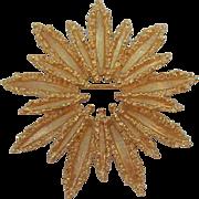 Vintage Avon Textured Goldtone Star Flower Brooch MIB 1972