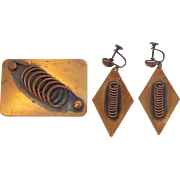 Vintage Renoir Copper Geometric Designs Brooch & Earring Set Circa 1950s