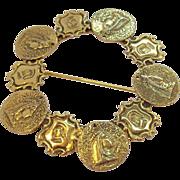 Vintage Freirich Goldtone Royal Regal Heraldic Symbols Goldtone Metal Brooch