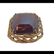 Vintage Capri Brown Open Back Crystal Stone Rectangular Shaped Brooch