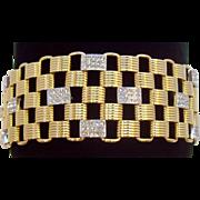 Vintage Nolan Miller Pave Crystal Rhinestone Wide Two Tone  Link Bracelet MIB