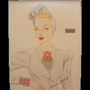 Vintage Miriam Haskell Advertising Print 2 Circa 1940s