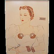Vintage Miriam Haskell Advertising Print 5 Circa 1940s