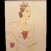 Vintage Miriam Haskell Advertising Print 6 Circa 1940s