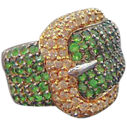 Vintage Charles Winston Sterling Silver Green CZs Buckle Style Ring  Size 8  Thailand
