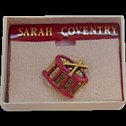 Vintage Sarah Coventry Christmas Drum Tac Pin  MIB Circa 1980s