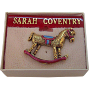 Vintage Sarah Coventry Christmas Rocking Horse Tac Pin  MIB Circa 1980s