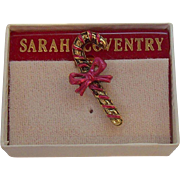 Vintage Sarah Coventry Christmas Candy Cane Tac Pin  MIB Circa 1980s