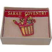 Vintage Sarah Coventry Christmas Santa in a Basket of Presents Tac Pin  MIB Circa 1980s