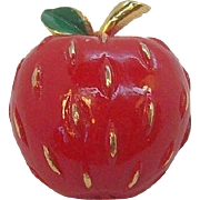 Vintage Napier Red Enameled Textured Apple Pin