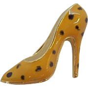 Vintage  Suzanne Bjontegard Yellow Enameled High Heel Shoe Pin