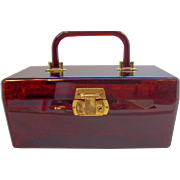 Vintage Lucite Cosmetic Makeup Vanity Case With Lock & Key 1960s